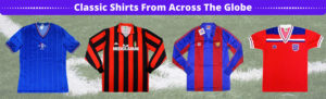 Football shirts on grass background